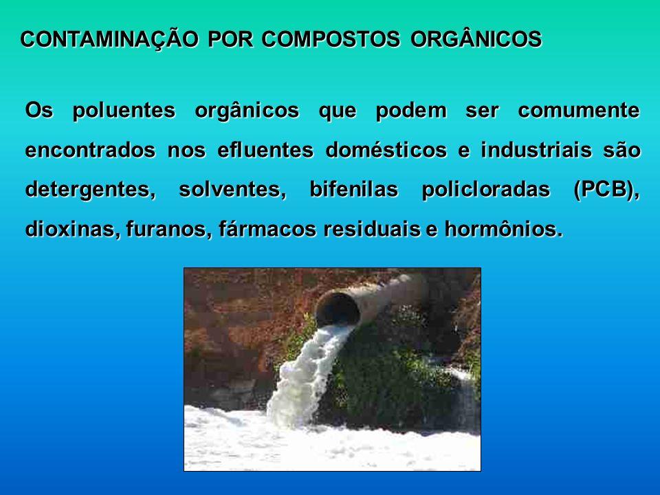 CONTAMINAÇÃO POR COMPOSTOS ORGÂNICOS Os poluentes orgânicos que podem ser comumente encontrados nos efluentes domésticos e industriais são detergentes