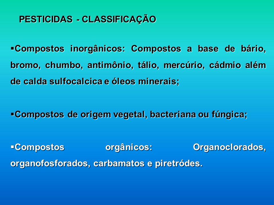 PESTICIDAS - CLASSIFICAÇÃO Compostos inorgânicos: Compostos a base de bário, bromo, chumbo, antimônio, tálio, mercúrio, cádmio além de calda sulfocalc