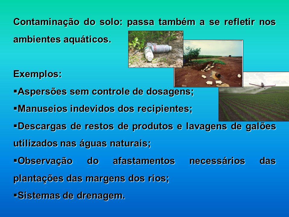 Contaminação do solo: passa também a se refletir nos ambientes aquáticos. Exemplos: Aspersões sem controle de dosagens; Aspersões sem controle de dosa