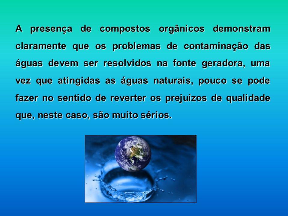 A presença de compostos orgânicos demonstram claramente que os problemas de contaminação das águas devem ser resolvidos na fonte geradora, uma vez que