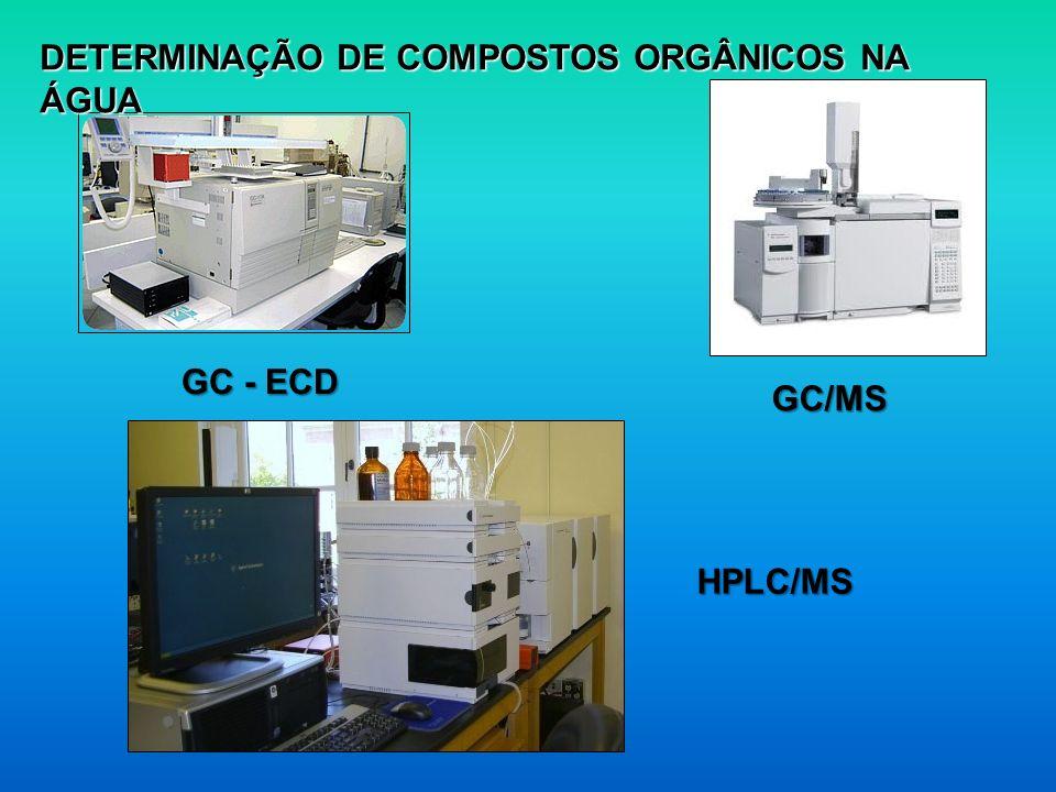 DETERMINAÇÃO DE COMPOSTOS ORGÂNICOS NA ÁGUA GC - ECD GC/MS HPLC/MS
