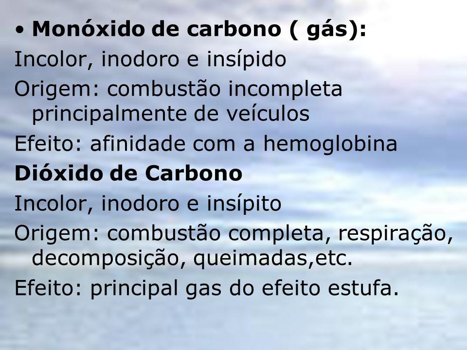 Monóxido de carbono ( gás): Incolor, inodoro e insípido Origem: combustão incompleta principalmente de veículos Efeito: afinidade com a hemoglobina Di
