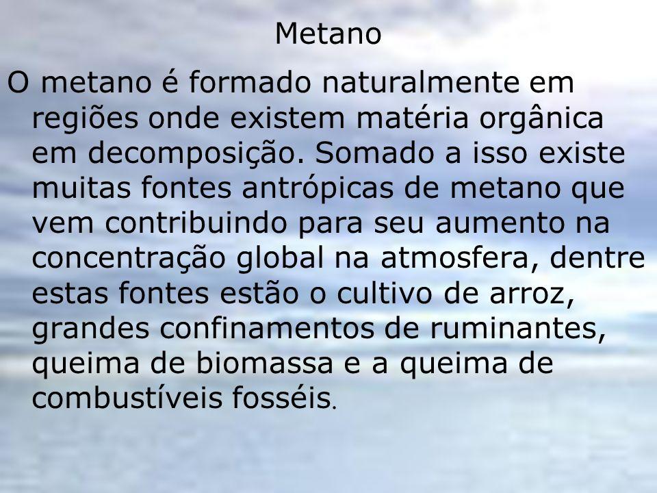 Metano O metano é formado naturalmente em regiões onde existem matéria orgânica em decomposição. Somado a isso existe muitas fontes antrópicas de meta