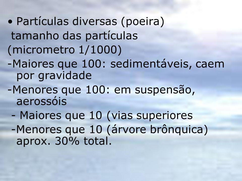 Partículas diversas (poeira) tamanho das partículas (micrometro 1/1000) -Maiores que 100: sedimentáveis, caem por gravidade -Menores que 100: em suspe