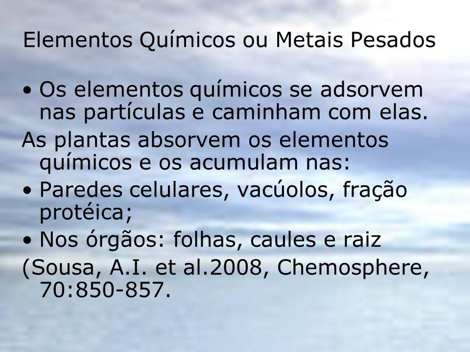 Elementos Químicos ou Metais Pesados Os elementos químicos se adsorvem nas partículas e caminham com elas. As plantas absorvem os elementos químicos e