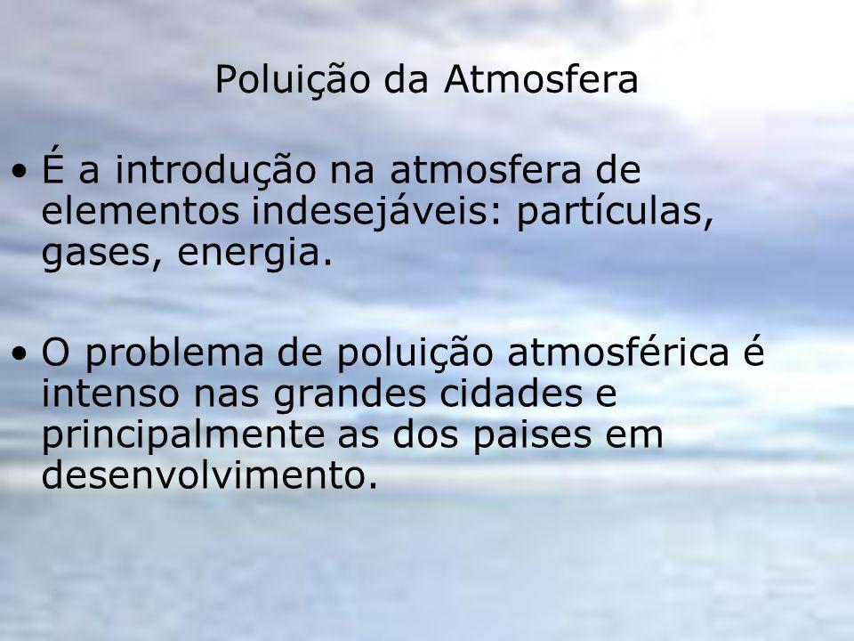 Poluição da Atmosfera É a introdução na atmosfera de elementos indesejáveis: partículas, gases, energia. O problema de poluição atmosférica é intenso