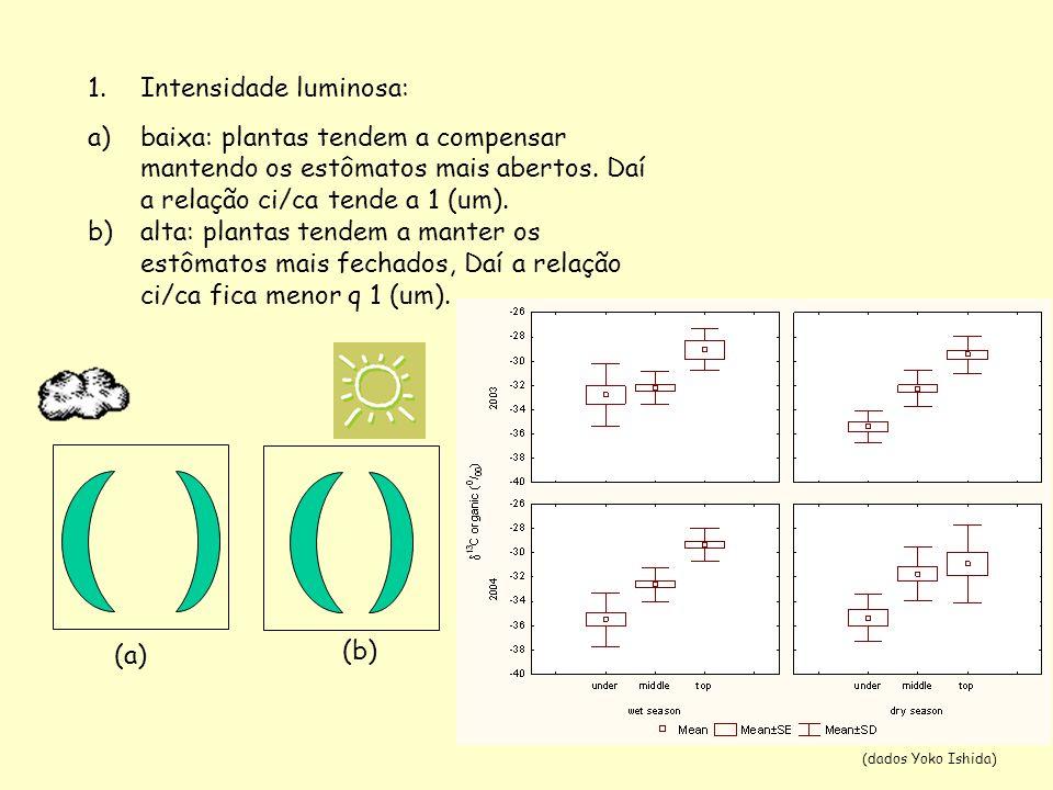 1.Intensidade luminosa: a)baixa: plantas tendem a compensar mantendo os estômatos mais abertos. Daí a relação ci/ca tende a 1 (um). b)alta: plantas te