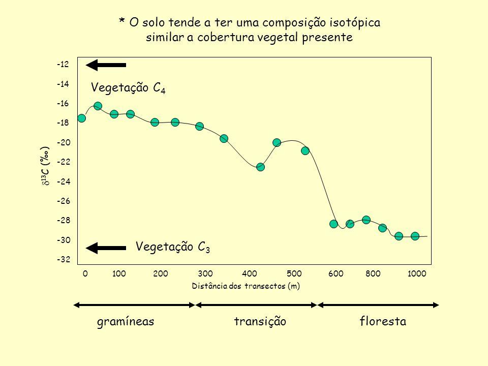 -12 -14 -16 -18 -20 -22 -24 -26 -28 -30 -32 13 C () 0 100 200 300 400 500 600 800 1000 Vegetação C 4 Vegetação C 3 Distância dos transectos (m) gramín