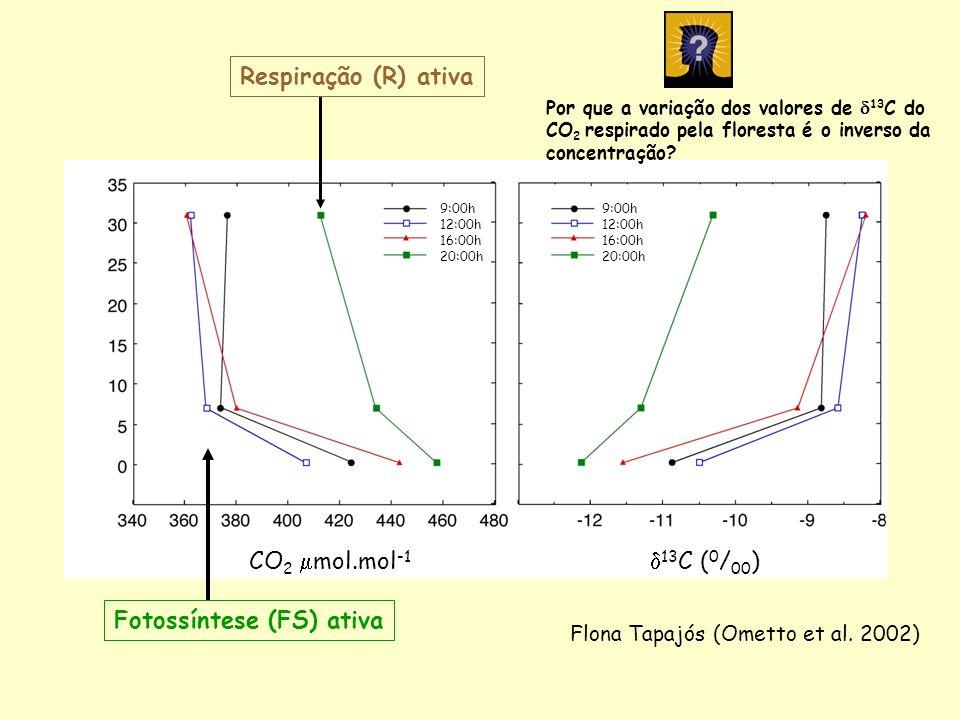 CO 2 mol.mol -1 13 C ( 0 / 00 ) 9:00h 12:00h 16:00h 20:00h 9:00h 12:00h 16:00h 20:00h Flona Tapajós (Ometto et al. 2002) Fotossíntese (FS) ativa Respi