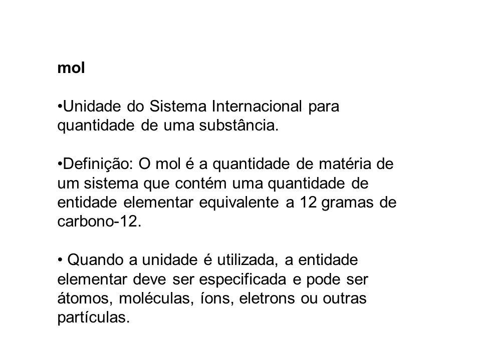 mol Unidade do Sistema Internacional para quantidade de uma substância. Definição: O mol é a quantidade de matéria de um sistema que contém uma quanti