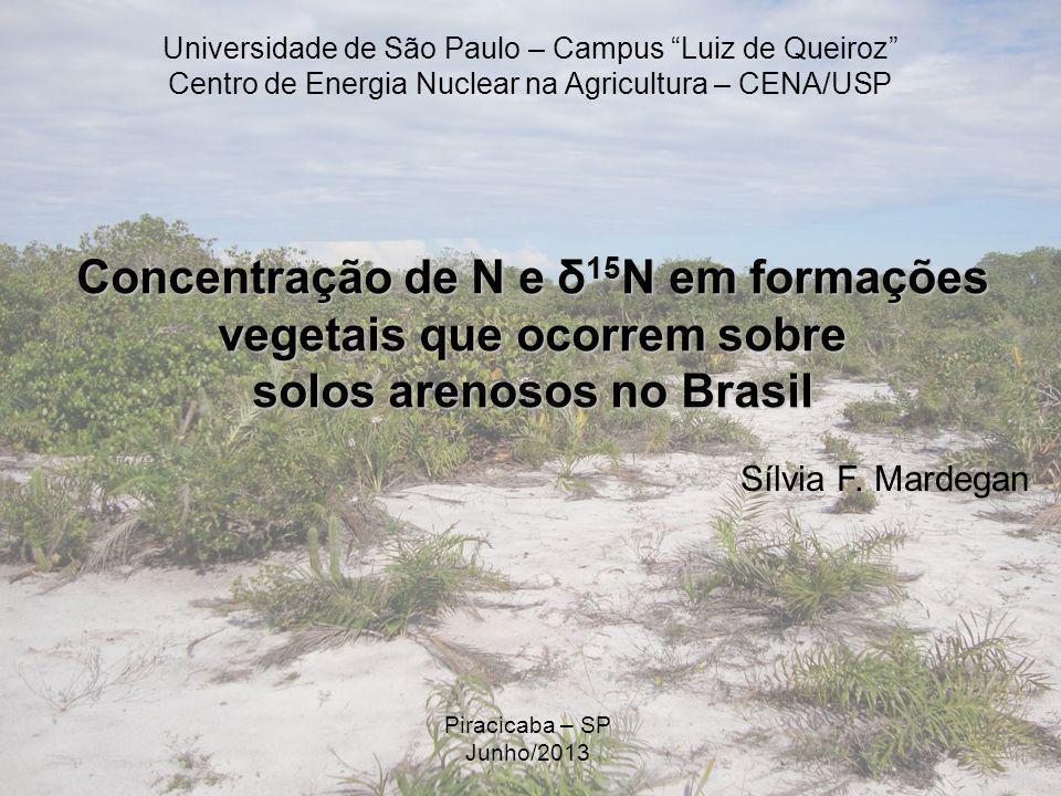 Concentração de N e δ 15 N em formações vegetais que ocorrem sobre solos arenosos no Brasil Sílvia F. Mardegan Piracicaba – SP Junho/2013 Universidade