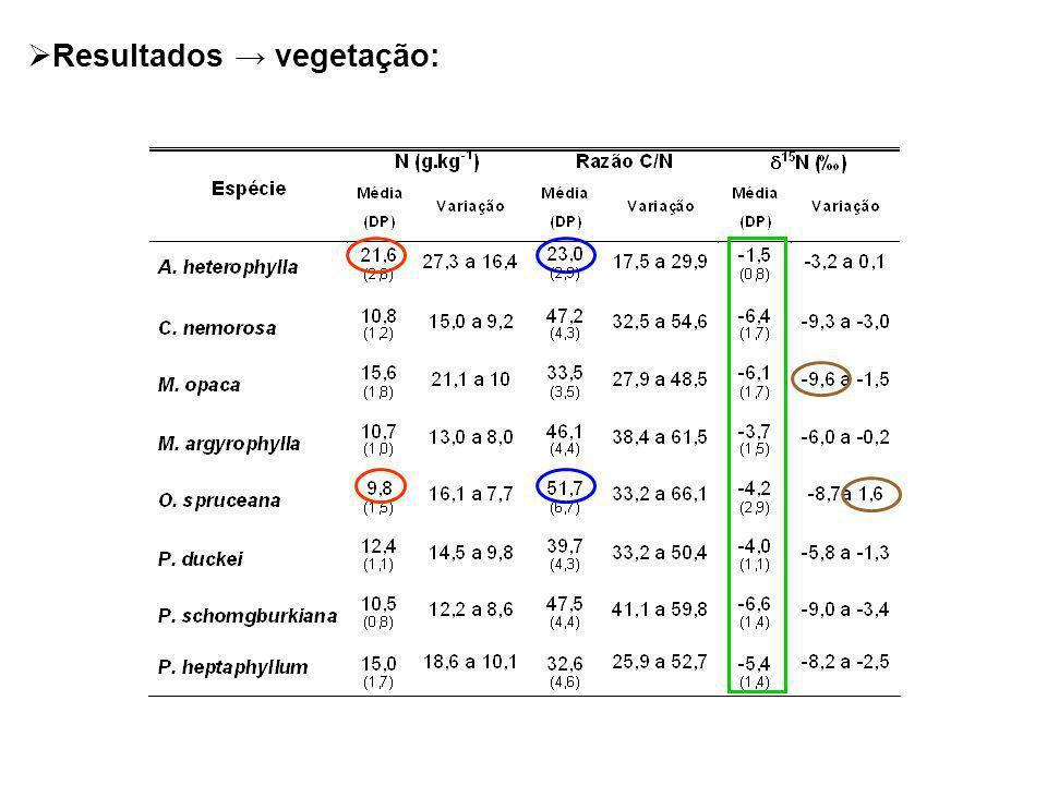 Resultados vegetação: