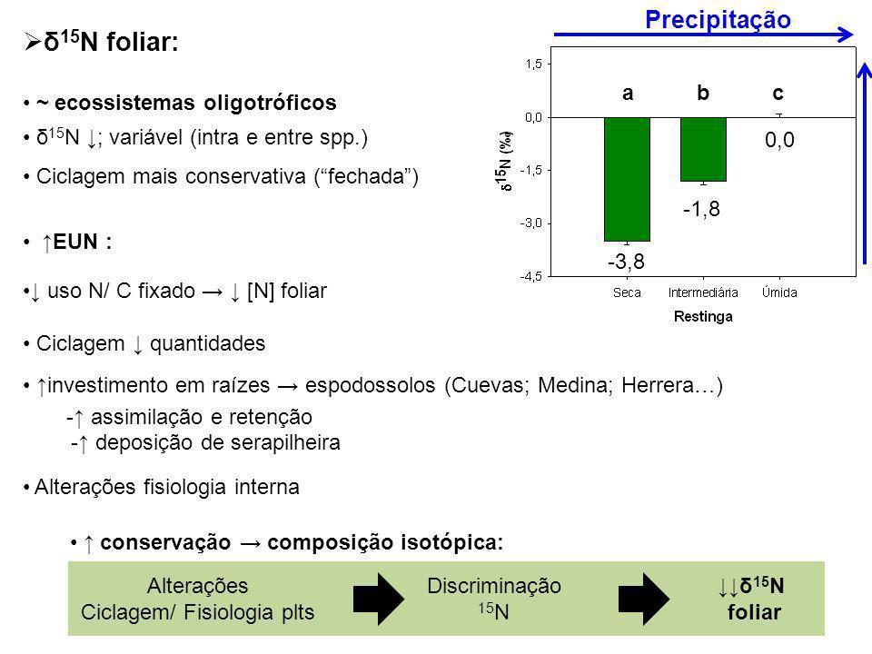 δ 15 N foliar: ~ ecossistemas oligotróficos δ 15 N ; variável (intra e entre spp.) Ciclagem mais conservativa (fechada) EUN : uso N/ C fixado [N] foli