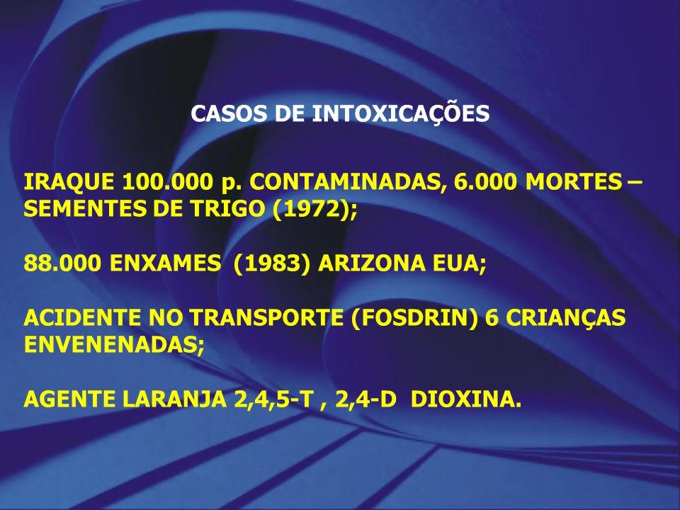 CASOS DE INTOXICAÇÕES IRAQUE 100.000 p. CONTAMINADAS, 6.000 MORTES – SEMENTES DE TRIGO (1972); 88.000 ENXAMES (1983) ARIZONA EUA; ACIDENTE NO TRANSPOR