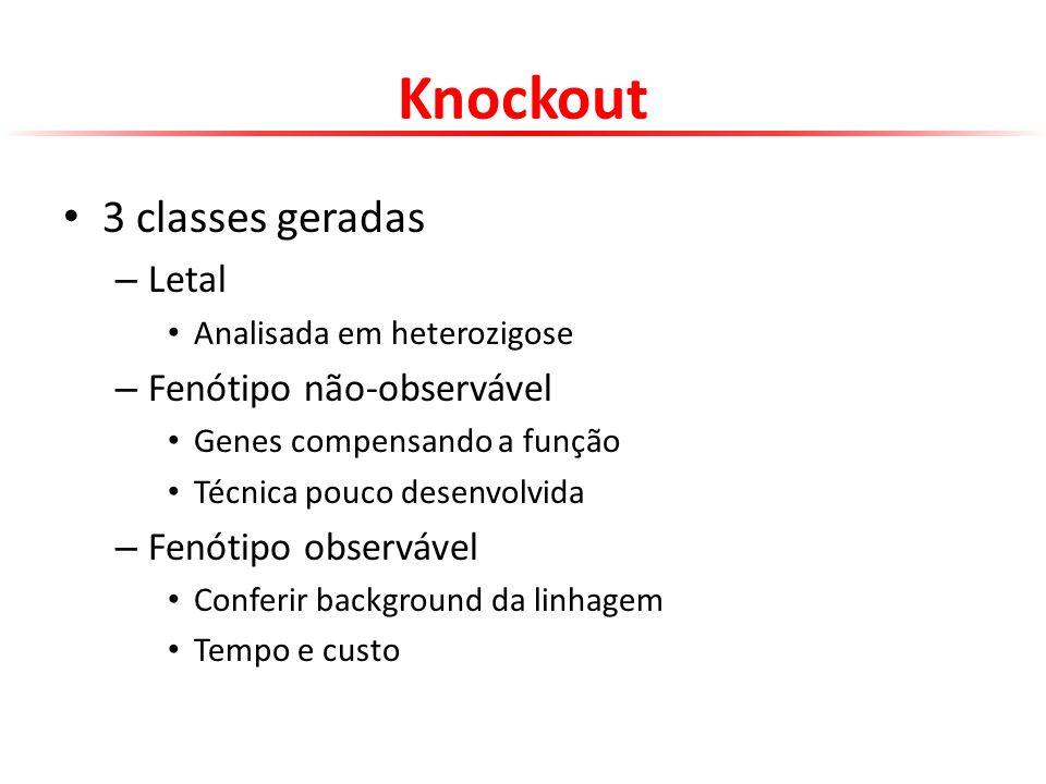 Knockout 3 classes geradas – Letal Analisada em heterozigose – Fenótipo não-observável Genes compensando a função Técnica pouco desenvolvida – Fenótip