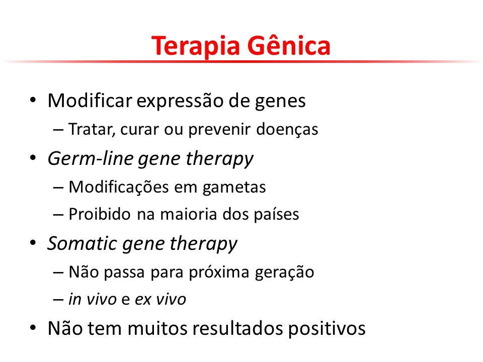 Terapia Gênica Modificar expressão de genes – Tratar, curar ou prevenir doenças Germ-line gene therapy – Modificações em gametas – Proibido na maioria