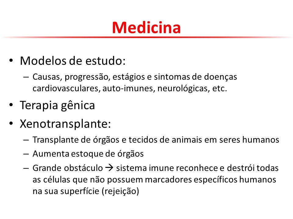 Medicina Modelos de estudo: – Causas, progressão, estágios e sintomas de doenças cardiovasculares, auto-imunes, neurológicas, etc. Terapia gênica Xeno