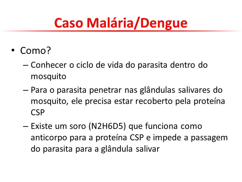 Caso Malária/Dengue Como? – Conhecer o ciclo de vida do parasita dentro do mosquito – Para o parasita penetrar nas glândulas salivares do mosquito, el