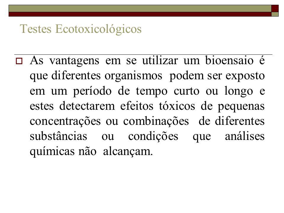 Testes Ecotoxicológicos As vantagens em se utilizar um bioensaio é que diferentes organismos podem ser exposto em um período de tempo curto ou longo e