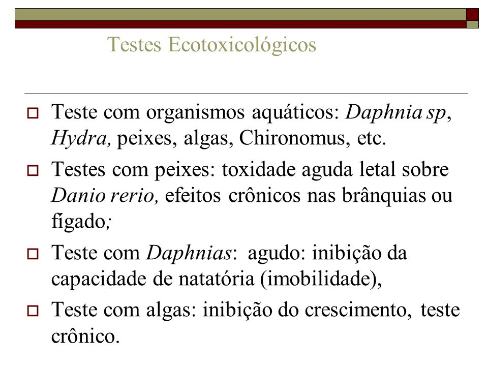 Testes Ecotoxicológicos Teste com organismos aquáticos: Daphnia sp, Hydra, peixes, algas, Chironomus, etc. Testes com peixes: toxidade aguda letal sob