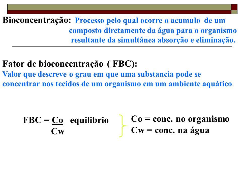 Fator de bioconcentração ( FBC): Valor que descreve o grau em que uma substancia pode se concentrar nos tecidos de um organismo em um ambiente aquátic