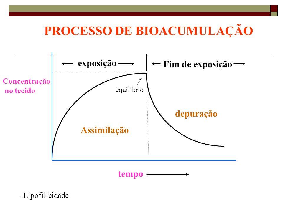 ------------------------------ exposição Fim de exposição depuração PROCESSO DE BIOACUMULAÇÃO Assimilação Concentração no tecido tempo equilibrio - Li