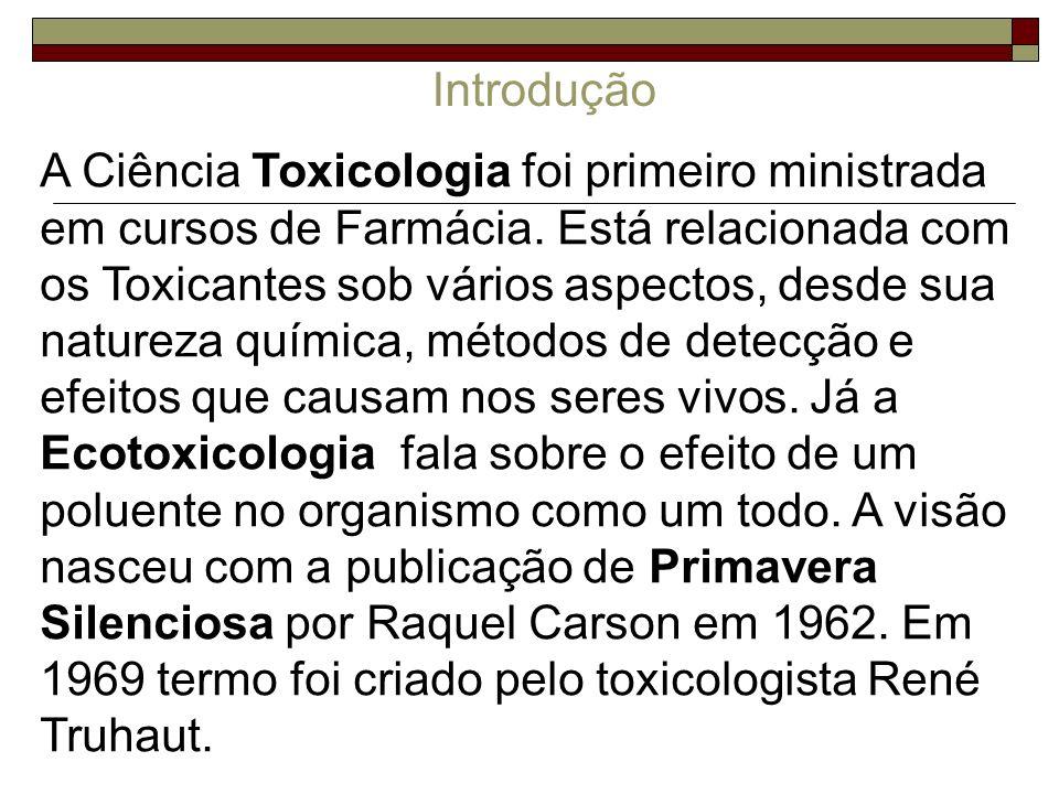 Ecotoxicologia A partir da segunda revolução industrial, ~1940 – aparecimento de substâncias sintéticas difícil degradação e toxicidade para diversos organismos.