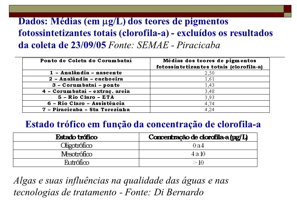 Dados: Médias (em g/L) dos teores de pigmentos fotossintetizantes totais (clorofila-a) - excluídos os resultados da coleta de 23/09/05 Fonte: SEMAE -