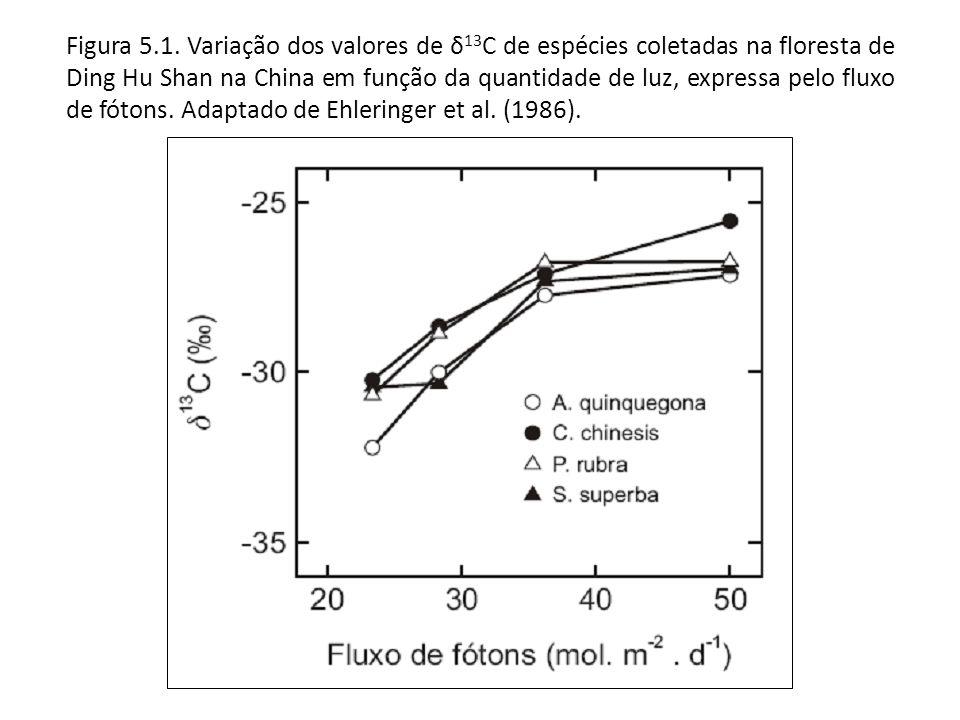Figura 5.1. Variação dos valores de δ 13 C de espécies coletadas na floresta de Ding Hu Shan na China em função da quantidade de luz, expressa pelo fl