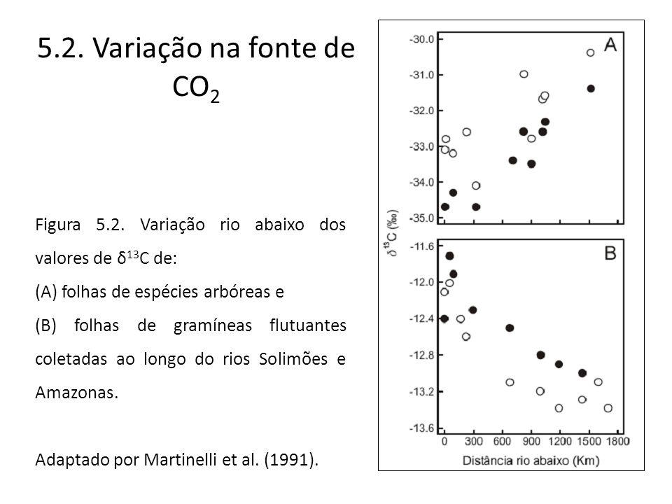 5.2. Variação na fonte de CO 2 Figura 5.2. Variação rio abaixo dos valores de δ 13 C de: (A) folhas de espécies arbóreas e (B) folhas de gramíneas flu