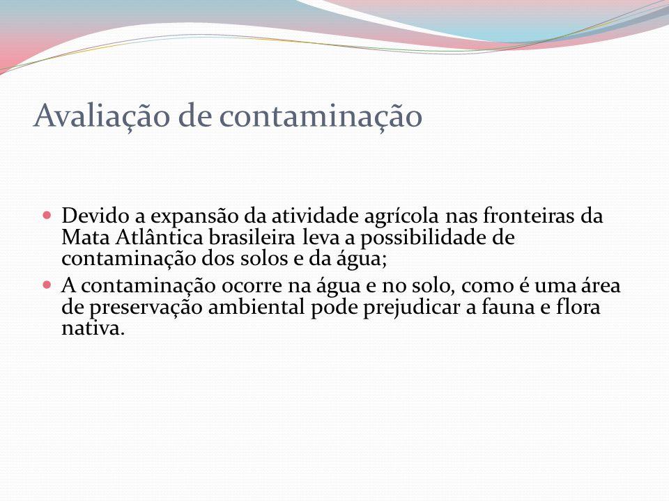 Avaliação de contaminação Devido a expansão da atividade agrícola nas fronteiras da Mata Atlântica brasileira leva a possibilidade de contaminação dos