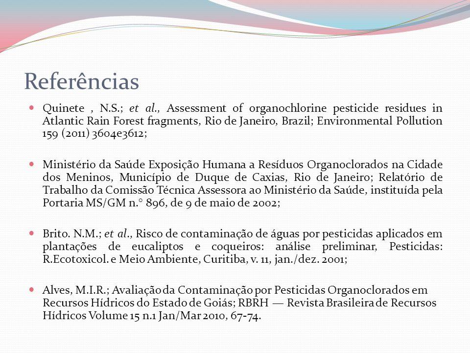 Referências Quinete, N.S.; et al., Assessment of organochlorine pesticide residues in Atlantic Rain Forest fragments, Rio de Janeiro, Brazil; Environm