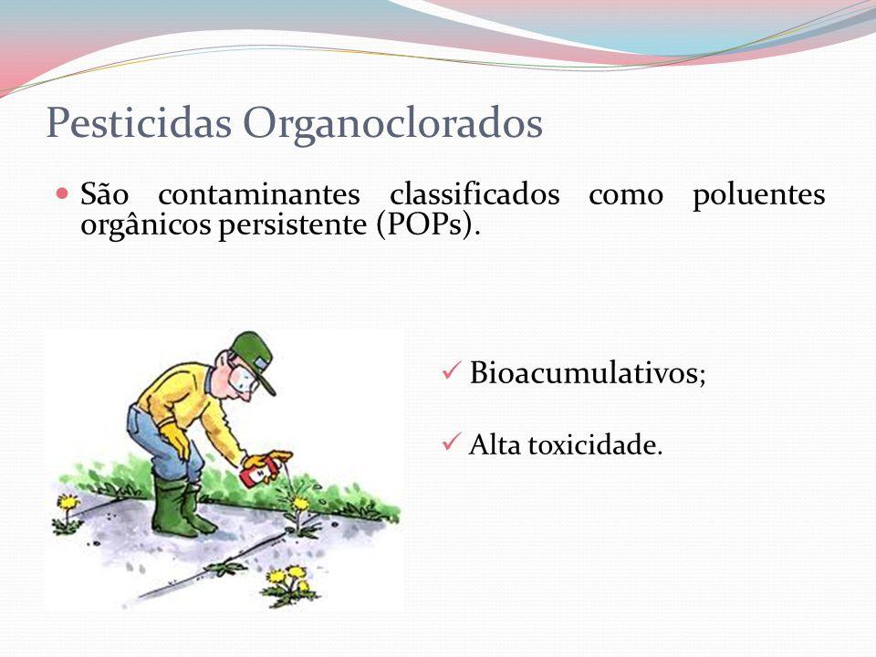 Pesticidas Organoclorados São contaminantes classificados como poluentes orgânicos persistente (POPs). Bioacumulativos ; Alta toxicidade.