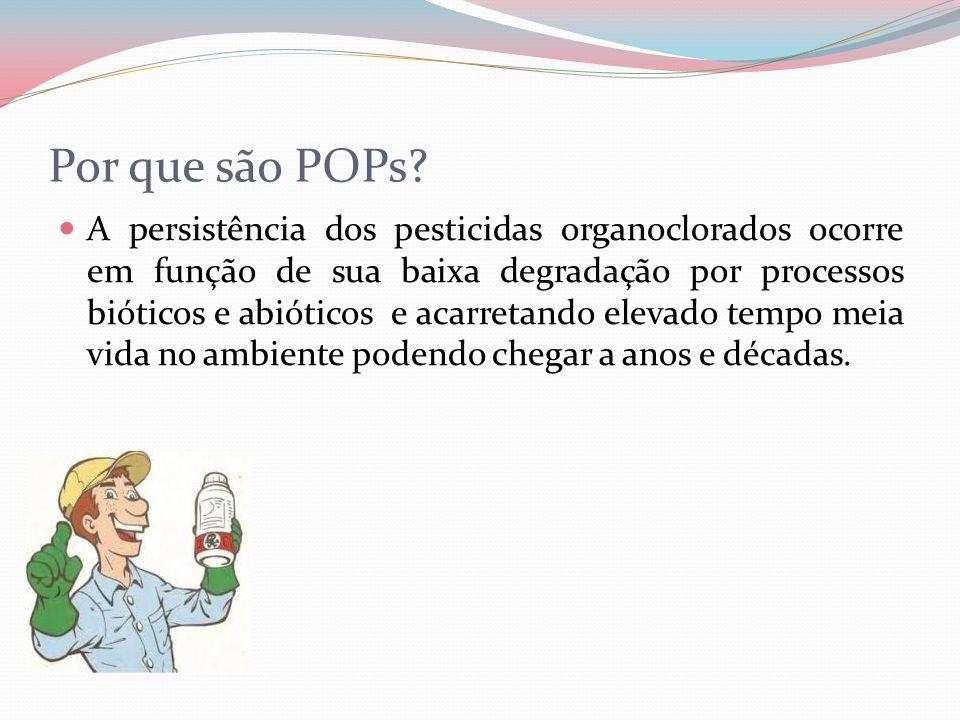 Por que são POPs? A persistência dos pesticidas organoclorados ocorre em função de sua baixa degradação por processos bióticos e abióticos e acarretan