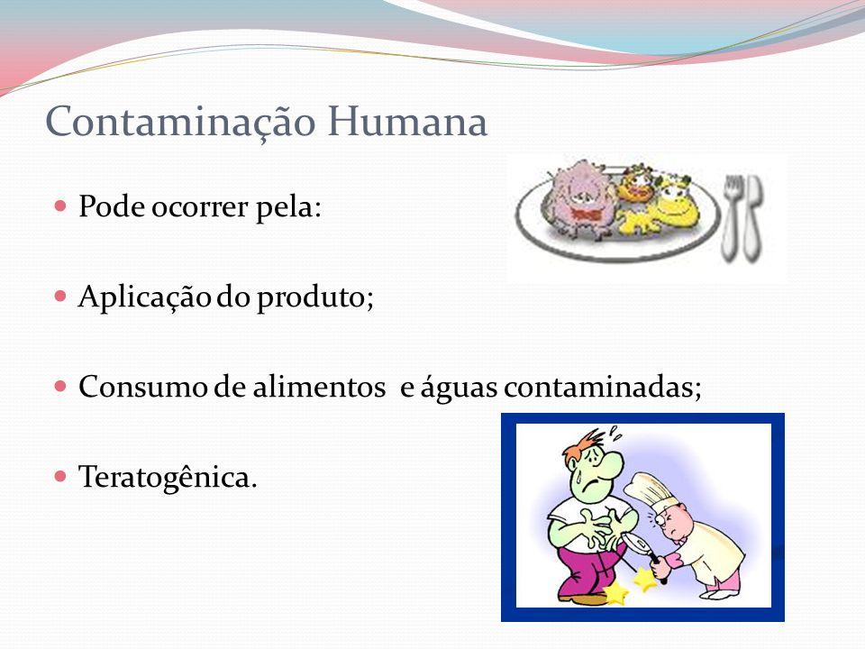 Contaminação Humana Pode ocorrer pela: Aplicação do produto; Consumo de alimentos e águas contaminadas; Teratogênica.