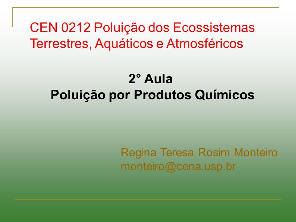 2° Aula Poluição por Produtos Químicos CEN 0212 Poluição dos Ecossistemas Terrestres, Aquáticos e Atmosféricos Regina Teresa Rosim Monteiro monteiro@c