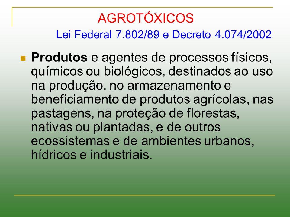 AGROTÓXICOS Lei Federal 7.802/89 e Decreto 4.074/2002 Produtos e agentes de processos físicos, químicos ou biológicos, destinados ao uso na produção,