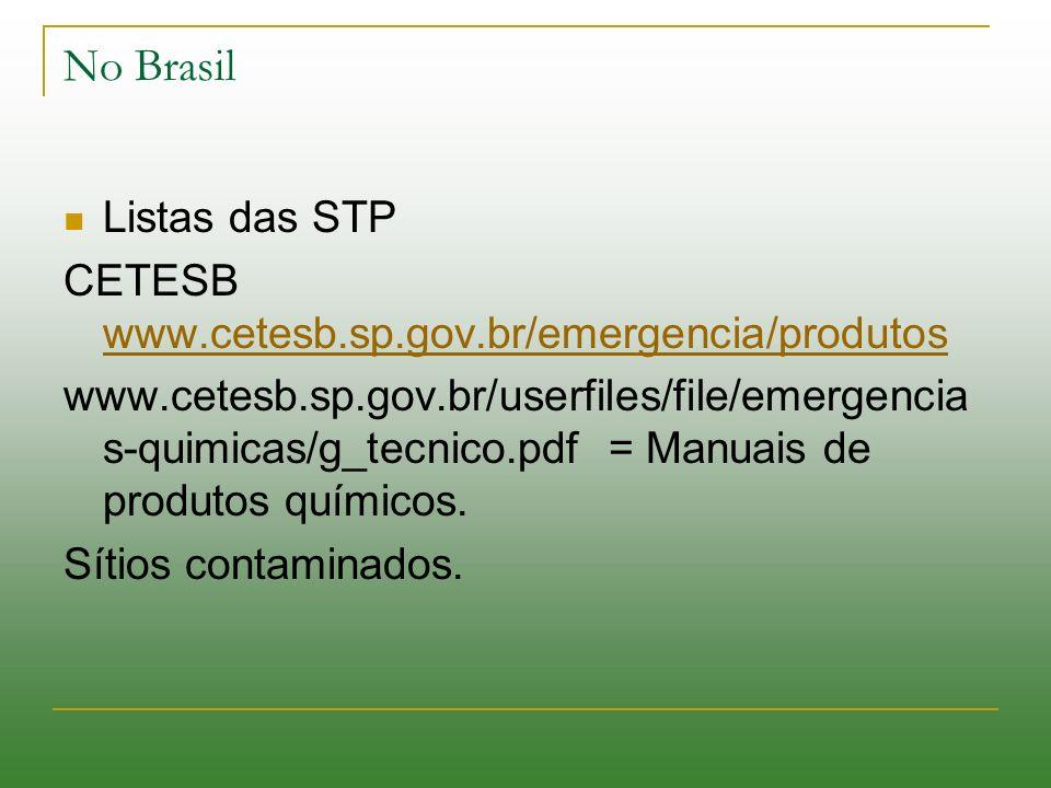 No Brasil Listas das STP CETESB www.cetesb.sp.gov.br/emergencia/produtos www.cetesb.sp.gov.br/emergencia/produtos www.cetesb.sp.gov.br/userfiles/file/