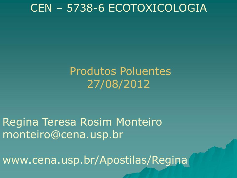 CEN – 5738-6 ECOTOXICOLOGIA Produtos Poluentes 27/08/2012 Regina Teresa Rosim Monteiro monteiro@cena.usp.br www.cena.usp.br/Apostilas/Regina