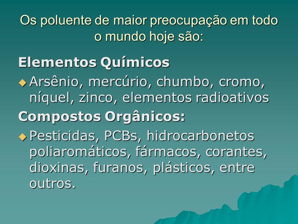 Os poluente de maior preocupação em todo o mundo hoje são: Elementos Químicos Arsênio, mercúrio, chumbo, cromo, níquel, zinco, elementos radioativos A