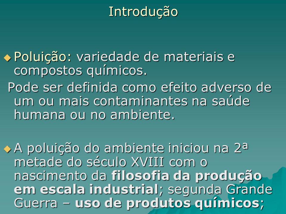 Introdução Poluição: variedade de materiais e compostos químicos. Poluição: variedade de materiais e compostos químicos. Pode ser definida como efeito