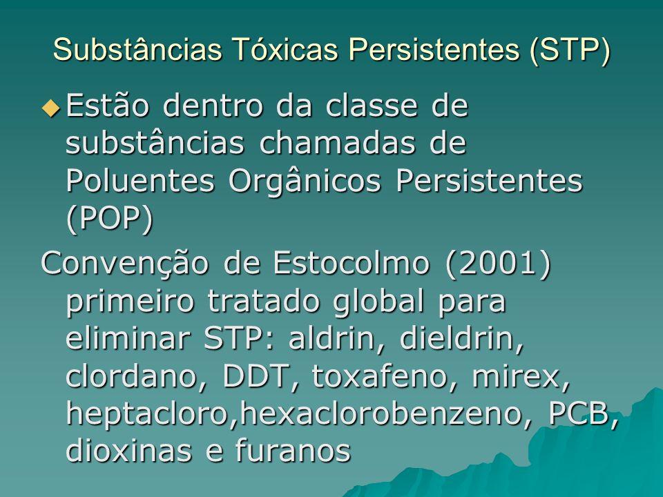 Substâncias Tóxicas Persistentes (STP) Estão dentro da classe de substâncias chamadas de Poluentes Orgânicos Persistentes (POP) Estão dentro da classe