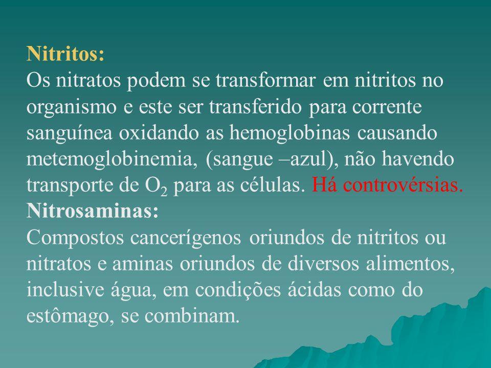 Nitritos: Os nitratos podem se transformar em nitritos no organismo e este ser transferido para corrente sanguínea oxidando as hemoglobinas causando m