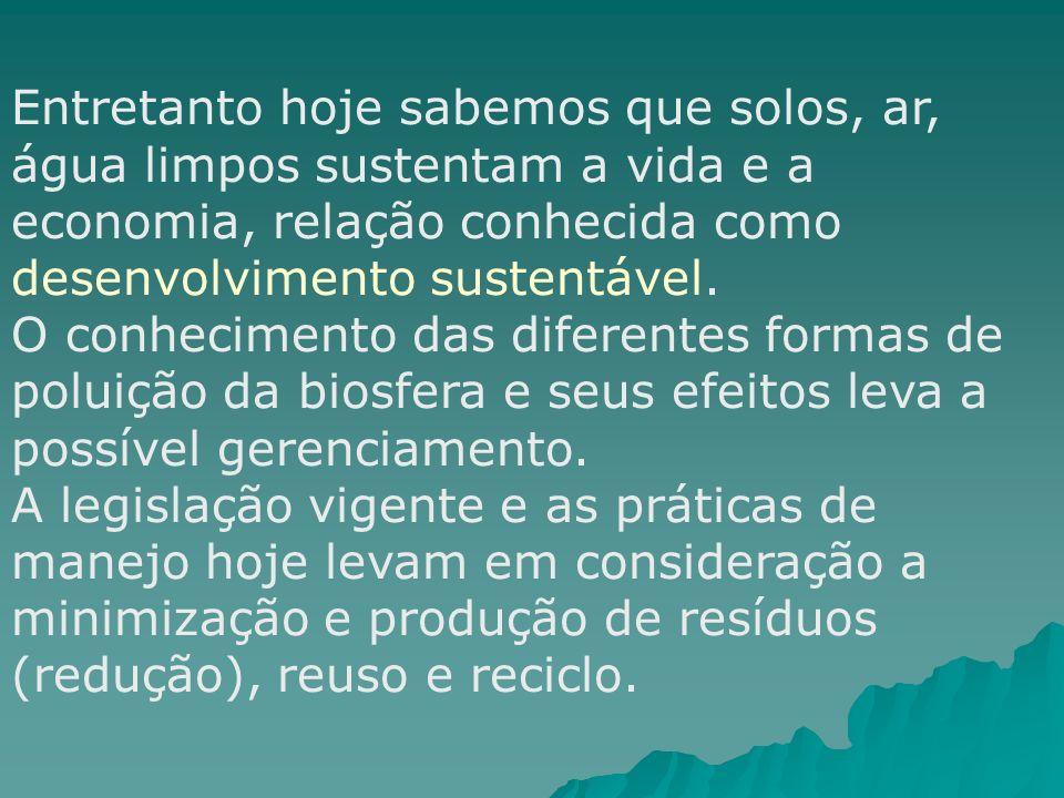 Entretanto hoje sabemos que solos, ar, água limpos sustentam a vida e a economia, relação conhecida como desenvolvimento sustentável. O conhecimento d