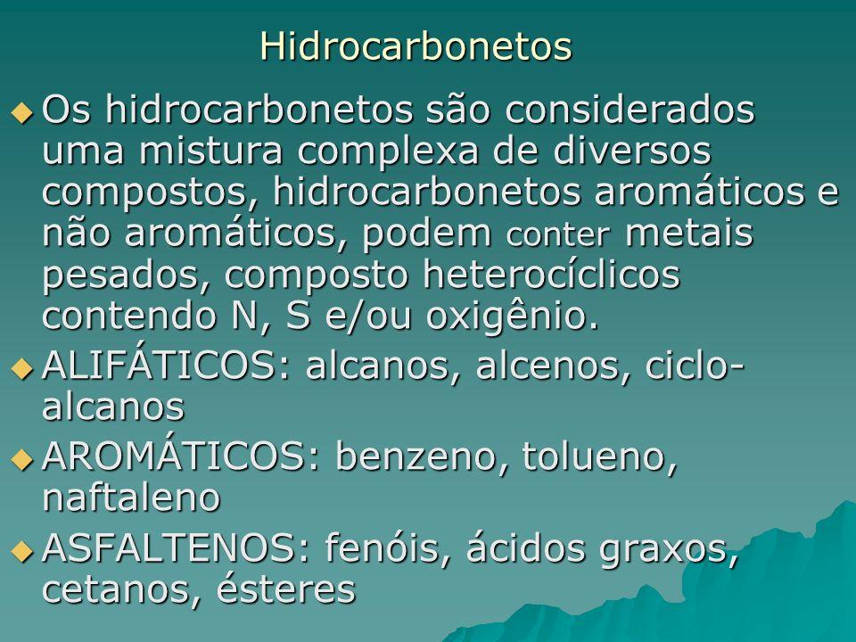 Hidrocarbonetos Os hidrocarbonetos são considerados uma mistura complexa de diversos compostos, hidrocarbonetos aromáticos e não aromáticos, podem con