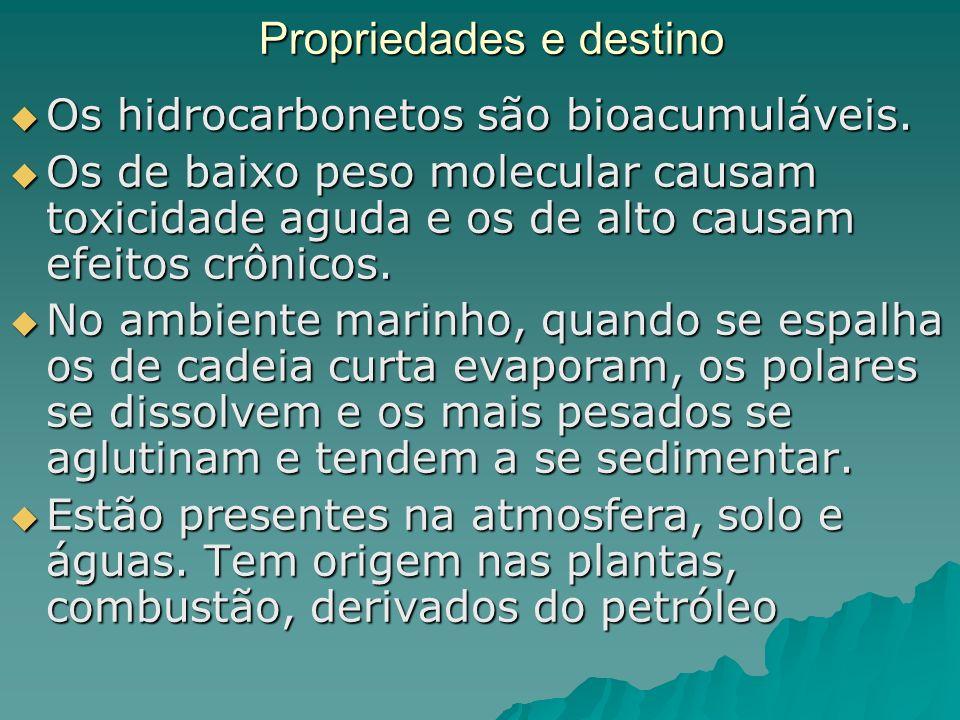 Propriedades e destino Os hidrocarbonetos são bioacumuláveis. Os hidrocarbonetos são bioacumuláveis. Os de baixo peso molecular causam toxicidade agud