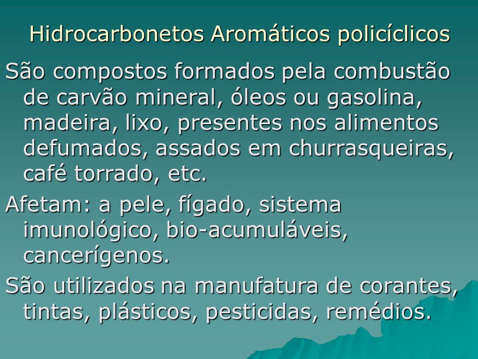 Hidrocarbonetos Aromáticos policíclicos São compostos formados pela combustão de carvão mineral, óleos ou gasolina, madeira, lixo, presentes nos alime