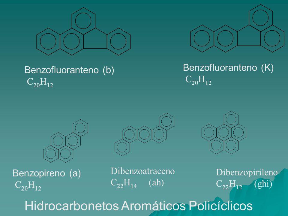 Benzofluoranteno (b) C 20 H 12 Benzofluoranteno (K) C 20 H 12 Benzopireno (a) C 20 H 12 Dibenzoatraceno C 22 H 14 (ah) Dibenzopirileno C 22 H 12 (ghi)
