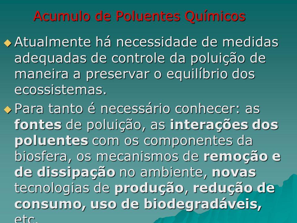 Acumulo de Poluentes Químicos Atualmente há necessidade de medidas adequadas de controle da poluição de maneira a preservar o equilíbrio dos ecossiste