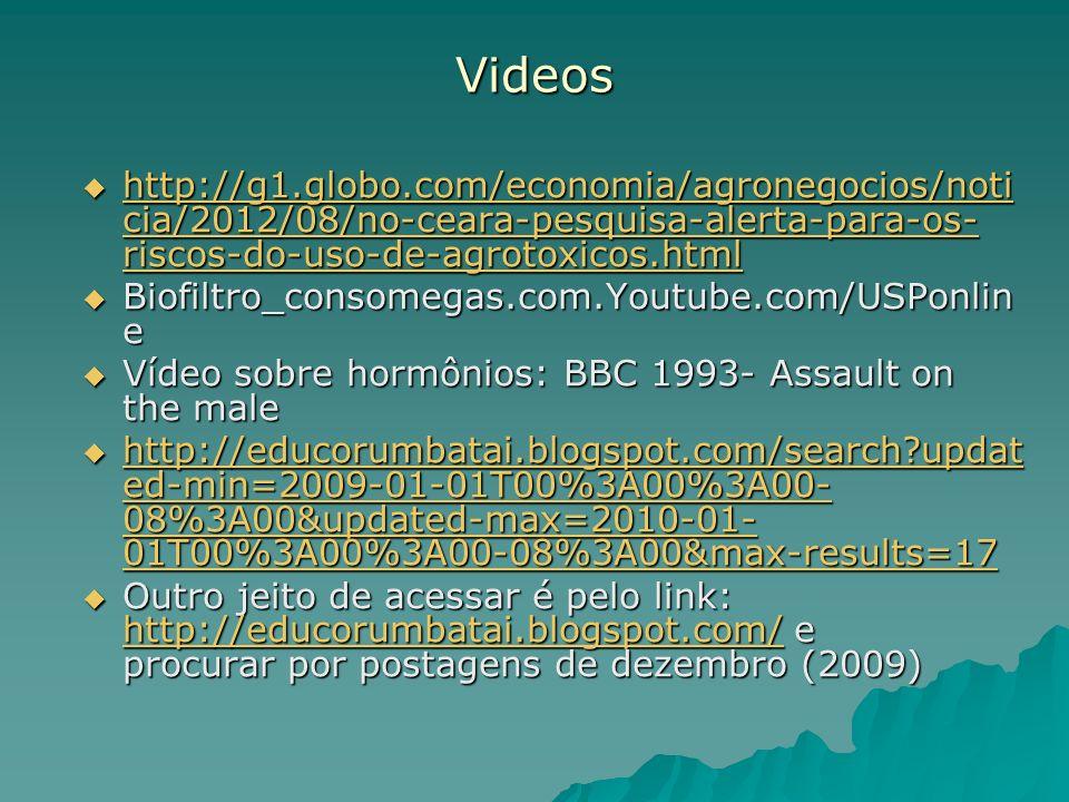 Videos http://g1.globo.com/economia/agronegocios/noti cia/2012/08/no-ceara-pesquisa-alerta-para-os- riscos-do-uso-de-agrotoxicos.html http://g1.globo.
